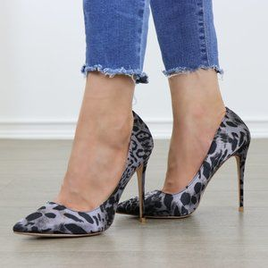 Sexy Pointed Toe Leopard Pumps Satin Fabric